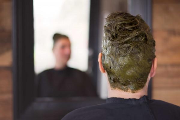 De plantenkleuring aangebracht door Ilona, een biologische kapper in Emblem